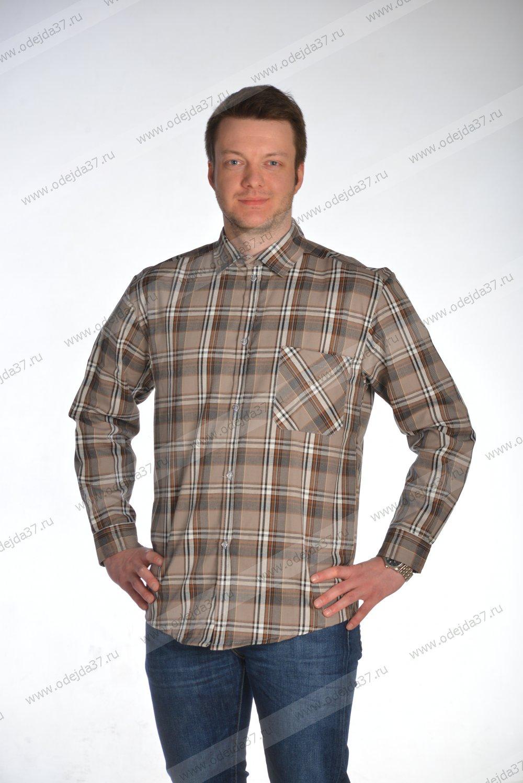 Увеличить - Рубашка мужская  с дл. рукавом (шотландка) №338